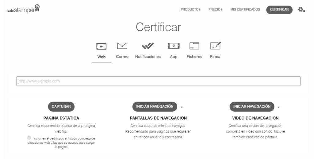 Página web de SafeStamper con las opciones de certificación de contenidos web