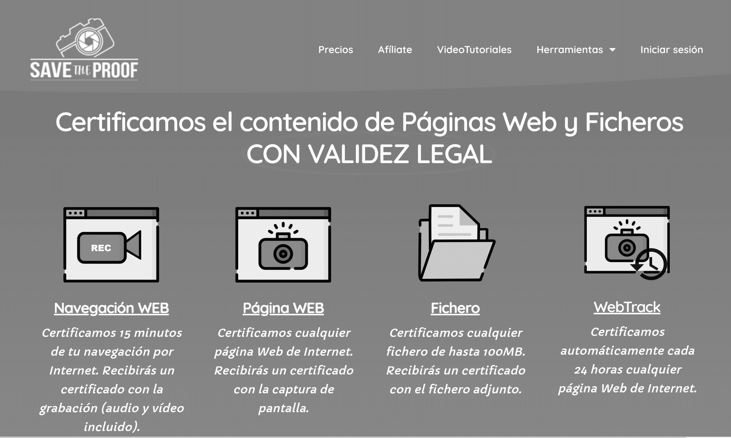Página web de SaveTheProof